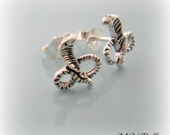 Snake Earrings. Sterling Silver Cobra Snake Stud Post Earrings