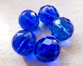 Vintage Japan Intense Blue Faceted Crystal Glass Beads - 12mm - Lot of 5