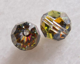 Vintage Beads Swarovski Very Rare & Collectible Sunburst Faceted Glass Beads- 10mm - Lot of 2