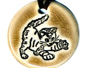 Playful Cat Ceramic Necklace in Mocha Crackle