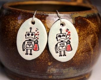 Robot Ceramic Earrings in Crackle