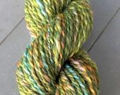 Pistachio Sprinkles, handspun wool, silk, mohair, nylon glitter yarn, 44 g/110 yds
