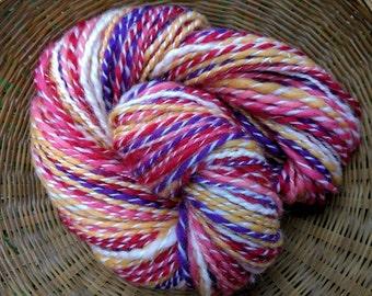 Bleeding Hearts, handspun wool, silk, nylon glitter yarn, 1.4 oz/42 g, 94 yds/86 m