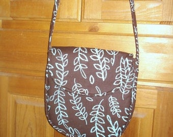 Messenger Bag in Brown and Aqua Leaves