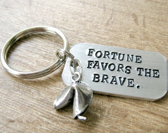 Fortune Favors the Brave Keychain, fortune cookie charm, optional initial disc, see all pics, fortune keychain, courage keychain, empowered