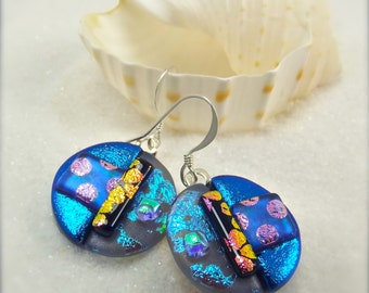 Dichroic glass Earrings, round earrings, jewelry, dichroic,fused glass earrings,handmade jewelry,freshly picked,trending now, wedding gift