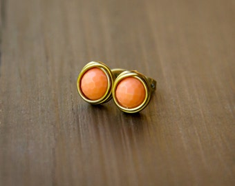 Perfectly Peachy Faceted Wire Wrapped Stud Earrings - Antiqued Brass and Orange Beaded Post Earrings