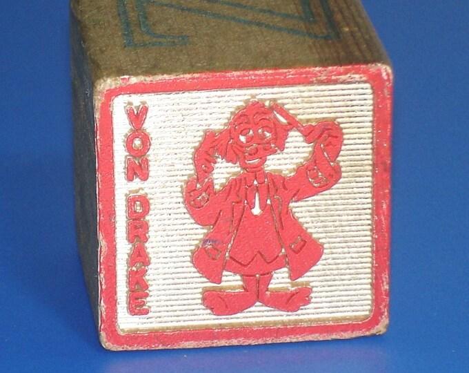 Vintage 1960s Von Drake Duck Disney Wood Block Letter U