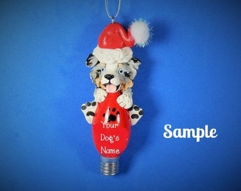 Tri Blue Merle Australian Shepherd blue eyes Santa dog Christmas Light Bulb Ornament Sally's Bits of Clay PERSONALIZED FREE with dog's name