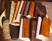 Leather Remnants SALE 15 pieces Fabric Pieces Mixed Browns Crafts Destash