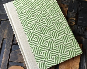 Journal - Large Unlined Green Basket Weave