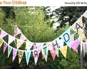STOREWIDE 15% OFF CUSTOM Happy Birthday Banner Bunting Party Flags.  A Unique Party Decoration.  Reversible. Made To Order in Your Chosen Co