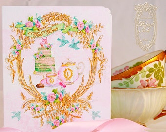 Ladurée Inspired Watercolor Afternoon Tea Folding Cards with Pink Shimmer Envelopes Set of 6 Includes Shimmer Metallic Envelopes