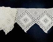 Handmade Crocheted Linen Curtain or Shelving Trim Edging