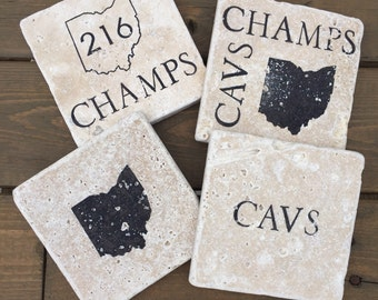 Cleveland Cavaliers Natural Stone Coasters. Set of 4. 2016 Champions