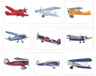 Airplane Decor, Airplane Nursery, Airplane Art, Unframed 8 x 10 Art Prints, Vintage Airplane for Reds Blues Oranges and Greens Bedding Decor