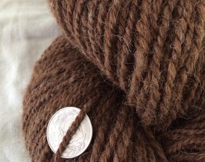 Natural brown yarn, 100% alpaca yarn, handspun brown yarn, 180 yards, non wool handspun yarn, undyed brown yarn, eco friendly