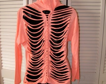 super thin backless bright neon pink coral FOLLOW YOUR DREAMS shredded long sleeve t shirt hoodie