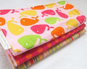 Baby Girl Burp Cloth Gift Set - Urban Zoologie Whales in Pink Orage Lime and Yellow  - Set of 3 Premium Cotton Burp Pads for Baby Girl
