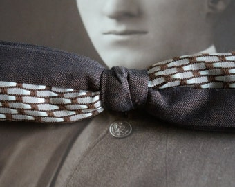 vintage funky mod  clip on bow tie  bowtie  Brown and white cotton