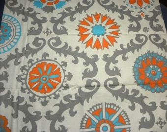 Canvas Cotton Duck Fabric Aztec Pattern Print in Orange Turquoise Gray Design Half Yard