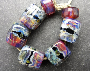 CrazyCatGlass Lampwork Boro Glass Beads Handmade Outer Galaxy Cubes