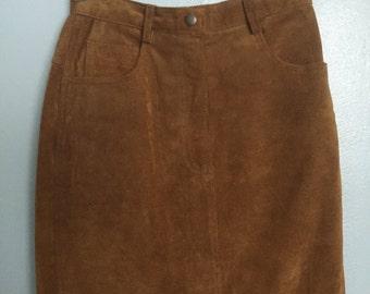 80s nutmeg brown suede skirt