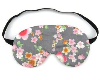 Pink Flowers on Grey Womens Sleep Eye Mask, Sleeping Mask, Travel Mask