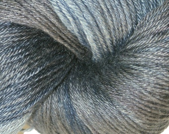 GUNMETAL in Hand Dyed Poet Seat Fingering Weight Superwash Merino and Silk Yarn