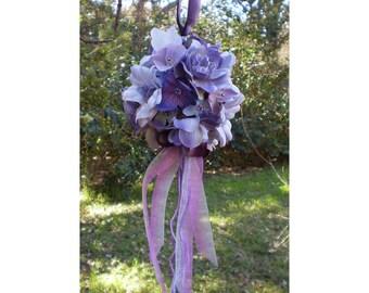purple lavender pomander Victorian home fairy decor faerie floral kissing ball bridal flowers wedding bouquet flower girl sphere