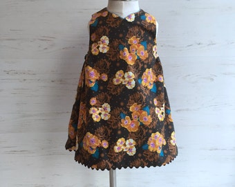 cocoa brown and turquoise reversible jumper dress, sizes 12m and 3T ONLY