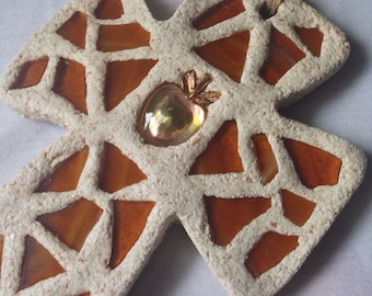 Inspirational  Mosaic Cross in Amber Browns