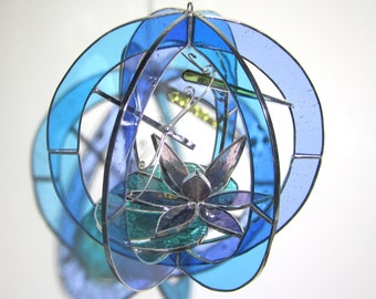 Monet's Muse - Stained Glass 3D Sphere - Medium Pastel Waterlily Lotus Flower Pond Nature Scene Suncatcher Hanging Orb (READY TO SHIP)