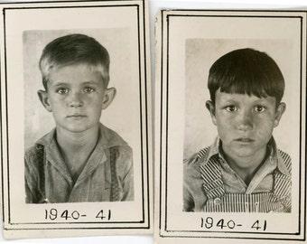 vintage photo 1940 A.J. & Elmo School Boys Overalls Farmer Children