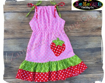 GIRL Strawberry Dress Outfit Set Summer Sweet Pillowcase Pink Red Toddler Baby Size 3m 6m 9m 9 12 18 24 month 2 2T 3 3T 4T 4 5T 5 6 7 8