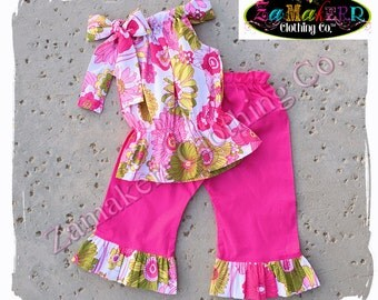 18 Month ONLY CLEARANCE SALE Girl Spring Outfit Pant Set Clothing Floral Flowers Easter Toddler Infant Baby Size 18 Month