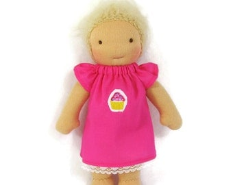 7 to 8 inch Waldorf pink cupcake doll dress, toy clothing, tiny doll dress