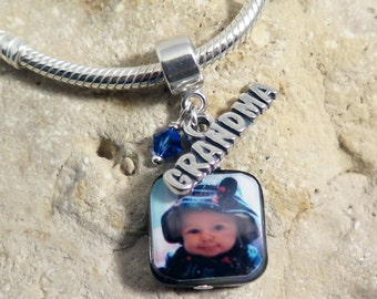 NEW - Custom Photo Mother of Pearl Charm with Grandma Charm and Birthstone for European Charm Bracelets