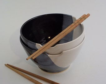 Large Noodle Bowls - Set of 2 - Wheel Thrown Ceramic - Stoneware Chopstick Dishes -  Soup Bowls - Ready to Ship - Black / White  b351