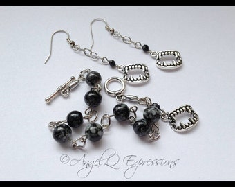 Children of the Night Vampire Fangs Jewelry Set with Beaded Bracelet and Chain Earrings in Black OOAK