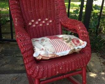 Vintage Child's Red WICKER ROCKING CHAIR Flowers Pillow
