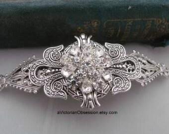 Victorian Wedding rhinestone Hair barrette silver and Crystal