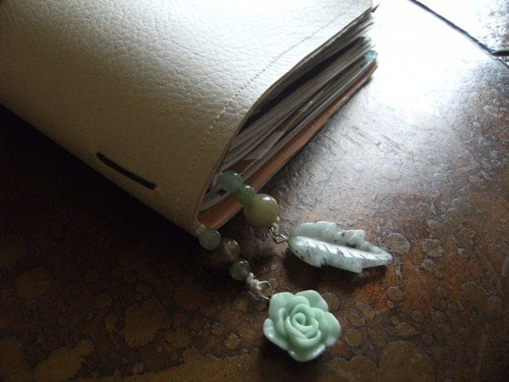 Botanical Rainbow Agate Acrylic and Jasper Traveler's Notebook Bookmark