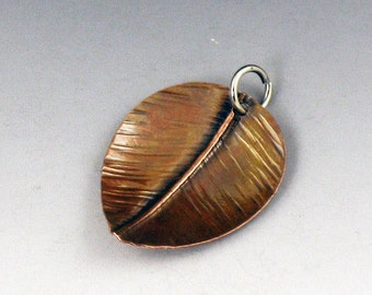 CS16 - Copper Leaf Charm by michelegradydesigns - Fold Formed Copper Leaf Charm Pendant