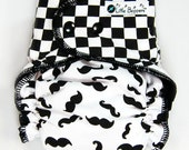 Cloth Diaper OS AI2 - One Size Hidden-PUL All-in-Two Nappy - Combo: Checkerboard and Mustaches - Washable Baby Diapers - Black and White