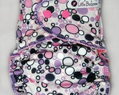 AI2 Cloth Diaper Made to Order - Pink and Purple Bubbles - You Pick Size and Style - Custom Cloth Nappy - Swim Type Knit (Poly/Lycra)