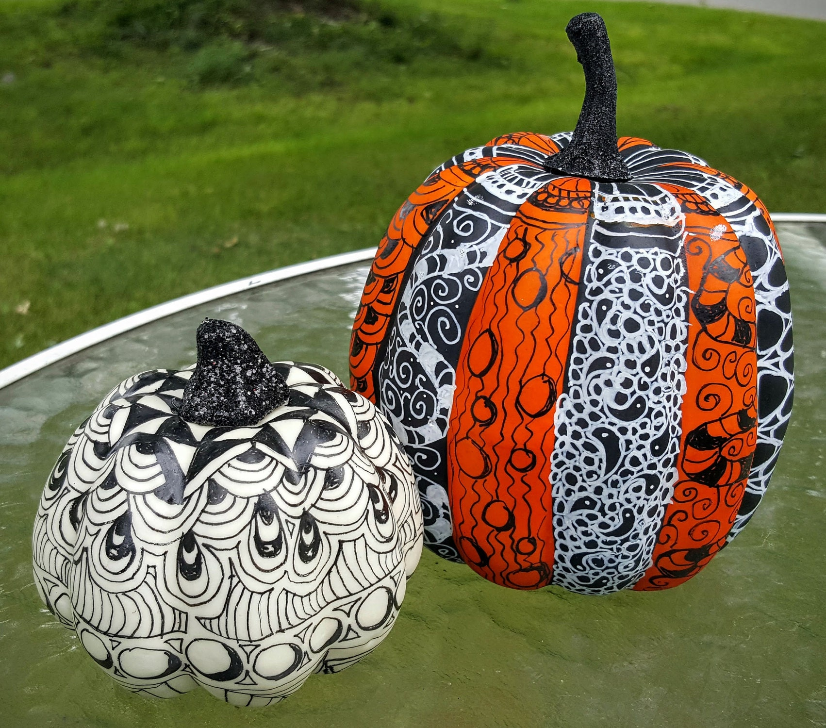 Halloween Harvest Pumpkin decorations - graphic tangled designes