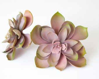 Fake Succulents - Artificial Succulent in Antique Dusty Pink and Green - faux succulents, artificial succulents - ITEM 0331