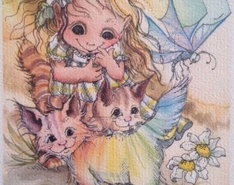 Jody Bergsma Lithograph Print - Once You've Been Over the Rainbow....... 7330/7500 - Big Eye Girl & Cats 1981