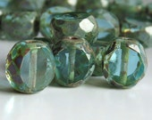 12mm Sea Green Czech Glass Table Cut Coin Picasso Bead  :  6 pc Blue Green Chunky Coin